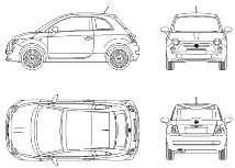 Blocco Cad di Nuova Fiat 500: auto in dwg