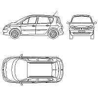 Blocco Cad di Renault Megane Scenic in dwg