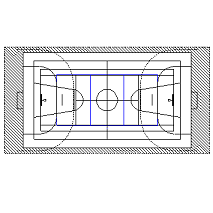 Blocco Cad di Campo da Basket, Volley, Calcetto in dwg