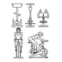 Blocco Cad di Spin Bikes, spinning bike, cyclette in dwg