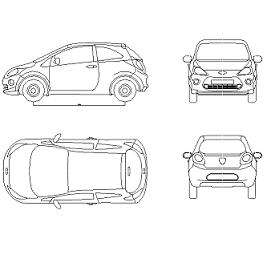 Blocco Cad di Ford Ka: auto in dwg