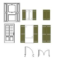 Blocco Cad di Porte e finestre, pianta e prospetto in dwg